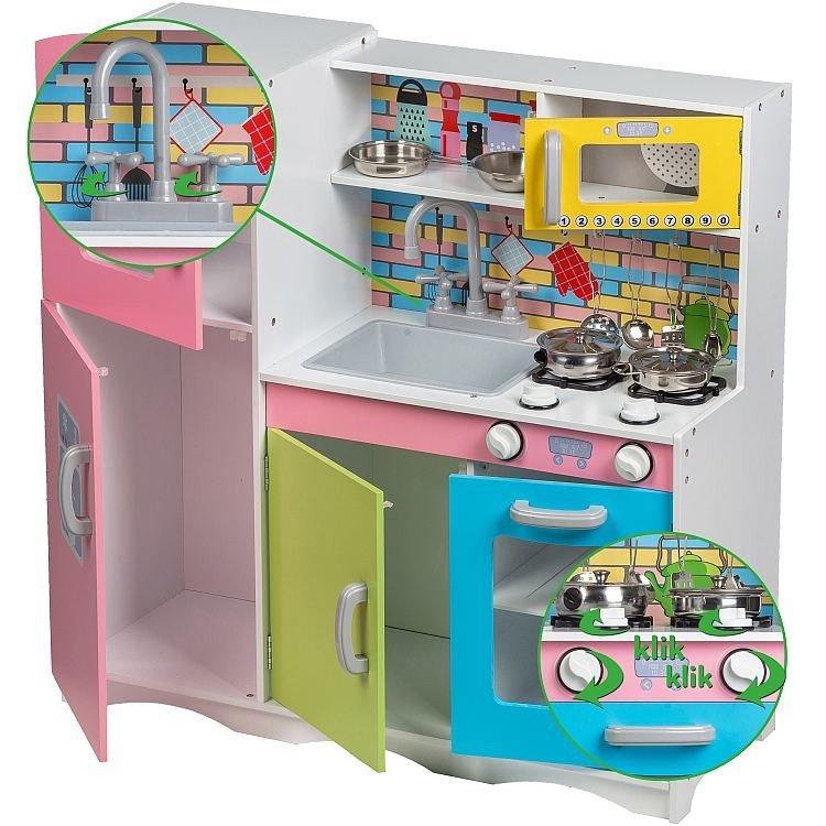 Kolorowa Kuchnia Dla Dziecka Drewniana Xl Ecotoys Zabawa