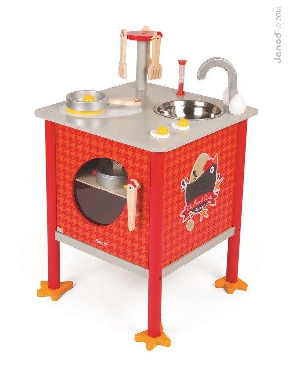 Kwadratowa Kuchnia Dla Dziecka Drewniana Mała Kura Janod