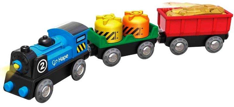 Niebieski pociąg Lokomotywa z wagonami na baterie Hape